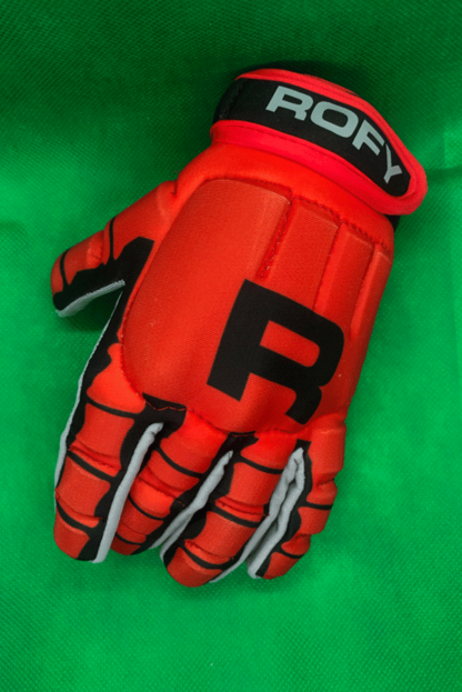 Rofy Hockey protectiehandschoen rood skull full finger